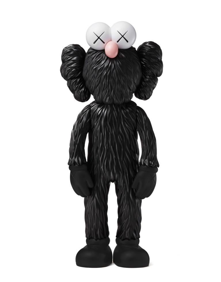 BFF (Black) Date of creation: 2018 Medium: Sculpture Media: Vinyl Edition: Open Size: 33.5 x 14.5 x 8.3 cm Observations: Vinyl sculpture published in 2018 by KAWS/ORIGINALFAKE & Medicom Toys. Sent inside its original box. Following Andy Warhol's
