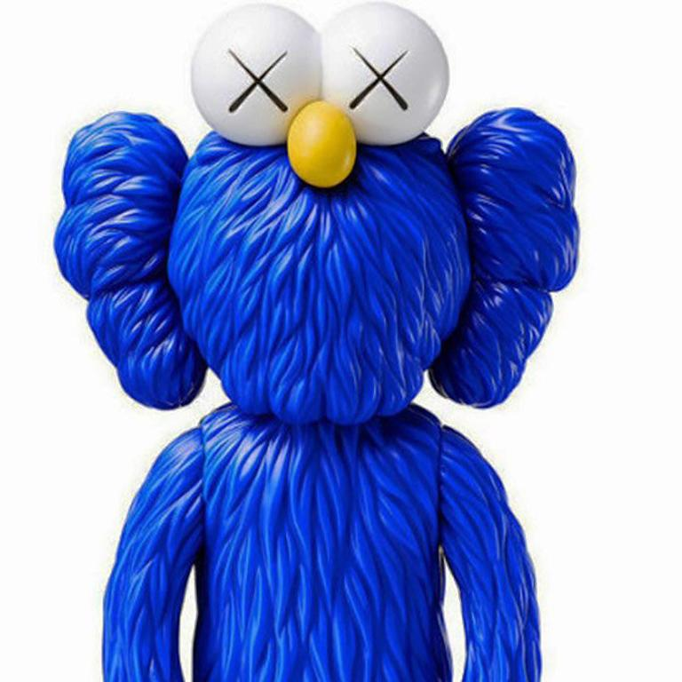 KAWS Blue BFF Companion (vinyl), new in its original packaging.  A well-received work and variation of KAWS' large scale BFF sculpture in Los Angeles's Playa Vista neighborhood.   Medium: Vinyl & Cast Resin  Published by Medicom Japan. 2017.  13 x