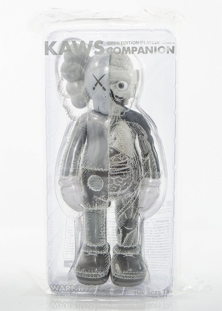 KAWS Companion 2016. Gray, Flayed (dissected) toy figure, brand new, sealed in original packaging.  Published by Medicom Japan in conjunction with the exhibition KAWS: Where The End Starts at the Modern Art Museum of Fort Worth.  The figurines have