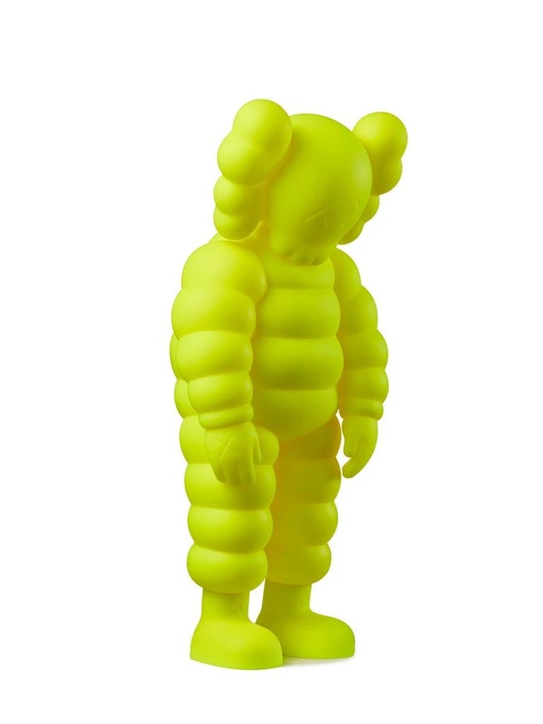 KAWS WHAT PARTY (yellow): KAWS yellow WHAT PARTY Companion featuring KAWS' CHUM character in a hunched position. Published to commemorate the debut of KAWS' larger scale sculptural version of same at K11 Musea Hong Kong & The Brooklyn Museum. Each