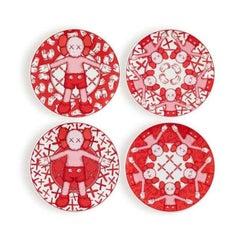 Limited Ceramic Plate Set - Red (Set of 4)