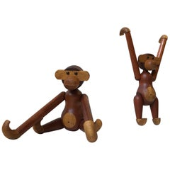 Kay Bojesen a Pair of Vintage Monkeys with Articulated Limbs, Denmark