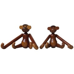 Kay Bojesen, a Pair of Vintage Monkeys with Articulated Limbs, Denmark