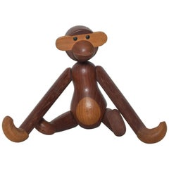Kay Bojesen Cute Wooden Flexible Figurine Monkey Toy in Teak, Denmark, 1960s