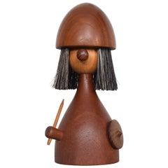 Kay Bojesen Laurids Lønborg, Teakwood Viking Toy Doll Lint Brush - Denmark 1960s