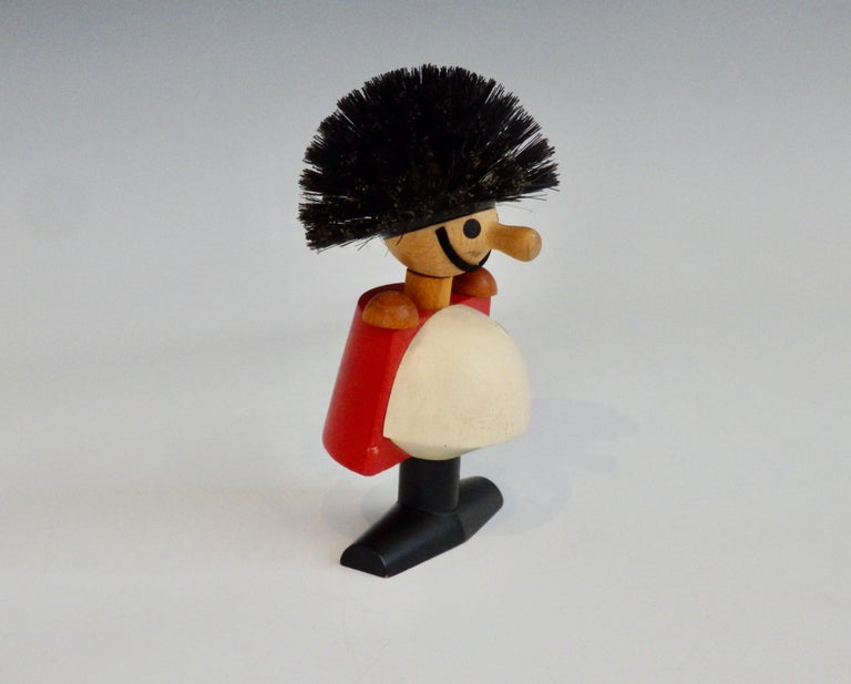 Kay Bojeson guardsman figure. Hand painted white red with black feet. Sold by Laurids Lonborg Denmark retains original label. Completely original condition with little to no wear.