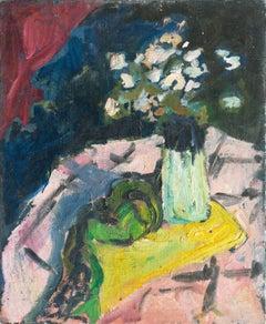 Post Impressionist oil, 'Still Life of Pink Dog Roses', Paris