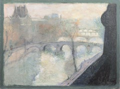 'View of the Seine and the Pont Marie', School of Paris, Post Impressionist oil