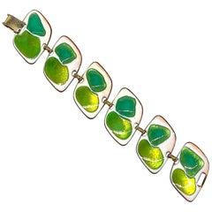 Kay Denning Mid Century Modern Green on White Enamel 1960s Bracelet