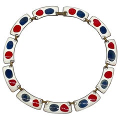 Kay Denning Mid Century Modern Red, White & Blue Enamel 1960s Necklace