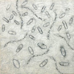 """Dispersion 1"", encaustic, graphite, abstract, microscopic"