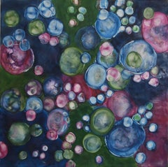 """Bio Flow 7"", abstract, encaustic painting on panel, blue, green, magenta"