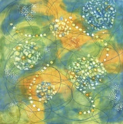 """""""Bio Fusion 15"""", Kay Hartung, encaustic, abstract, microscopic, teal, green"""