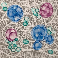 """Bio Networks 6"", Kay Hartung, encaustic, pastel, abstract, microscopic, blue"