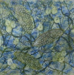 """Bio Patterns 16"", Kay Hartung, encaustic, pastel, abstract, microscopic, blue"