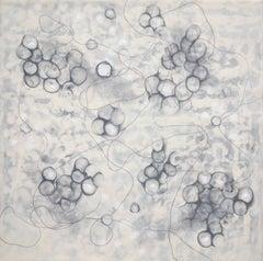 """""""Bio Shadows 2"""", Kay Hartung, abstract, encaustic, painting, microscopic, grey"""