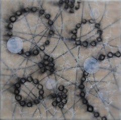 """Cell Pathways 1"", encaustic, cell, abstract, circles, black, white"