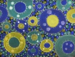 """Macroblast 10"", pastel, drawing, microscopic, blue, green, white, black"