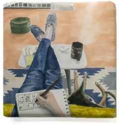 """Sunday Night"", Acrylic Paint on Cotton, Figurative Painting, Interior, Cat"