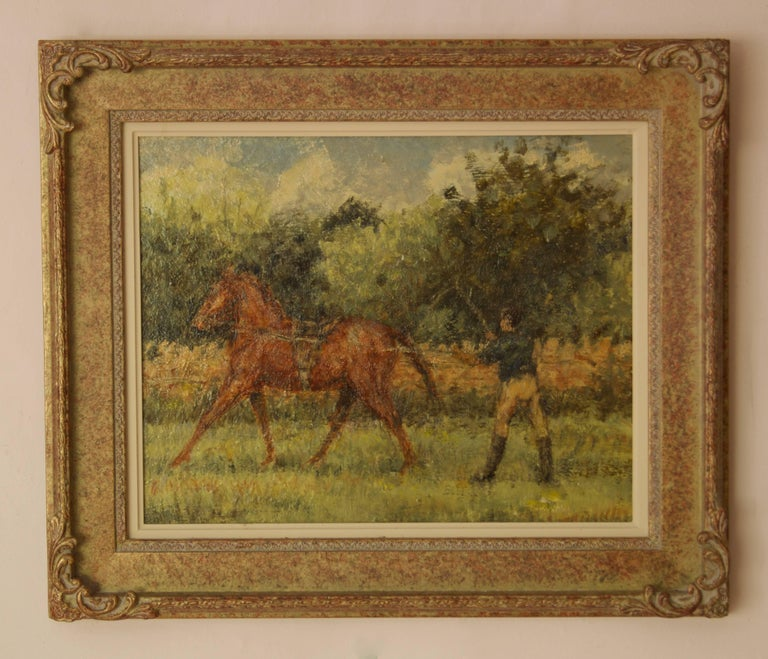 Training Day - Mid 20th Century Impressionist Oil Horse & Jockey by Kay Hinwood For Sale 1