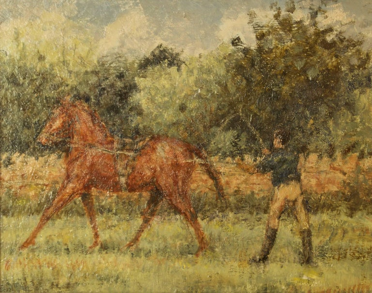 Kay Hinwood (1920 - 2006)  This piece titled Training Day was created using oil on board and is in a handmade swept composite frame.  It features: Horse, horses, training, people, horse rider, horse riding, landscape, countryside, fields,