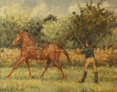 Training Day - Mid 20th Century Impressionist Oil Horse & Jockey by Kay Hinwood