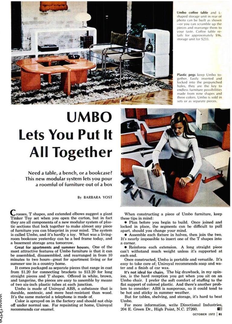 Plastic Kay Leroy Ruggles Umbo Side Table Modular Shelf, Directional, Ivory Cream, 1972 For Sale