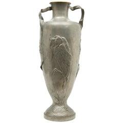 Kayserzinn Monumental Tall Pewter Art Nouveau Vase