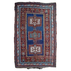 Kazak Antique Rug Blue Distressed Worn to Perfection