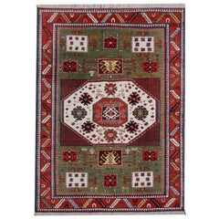 Kazak Charachoph Rug Hand Knotted in Azerbeijan with Vegetable Dyes