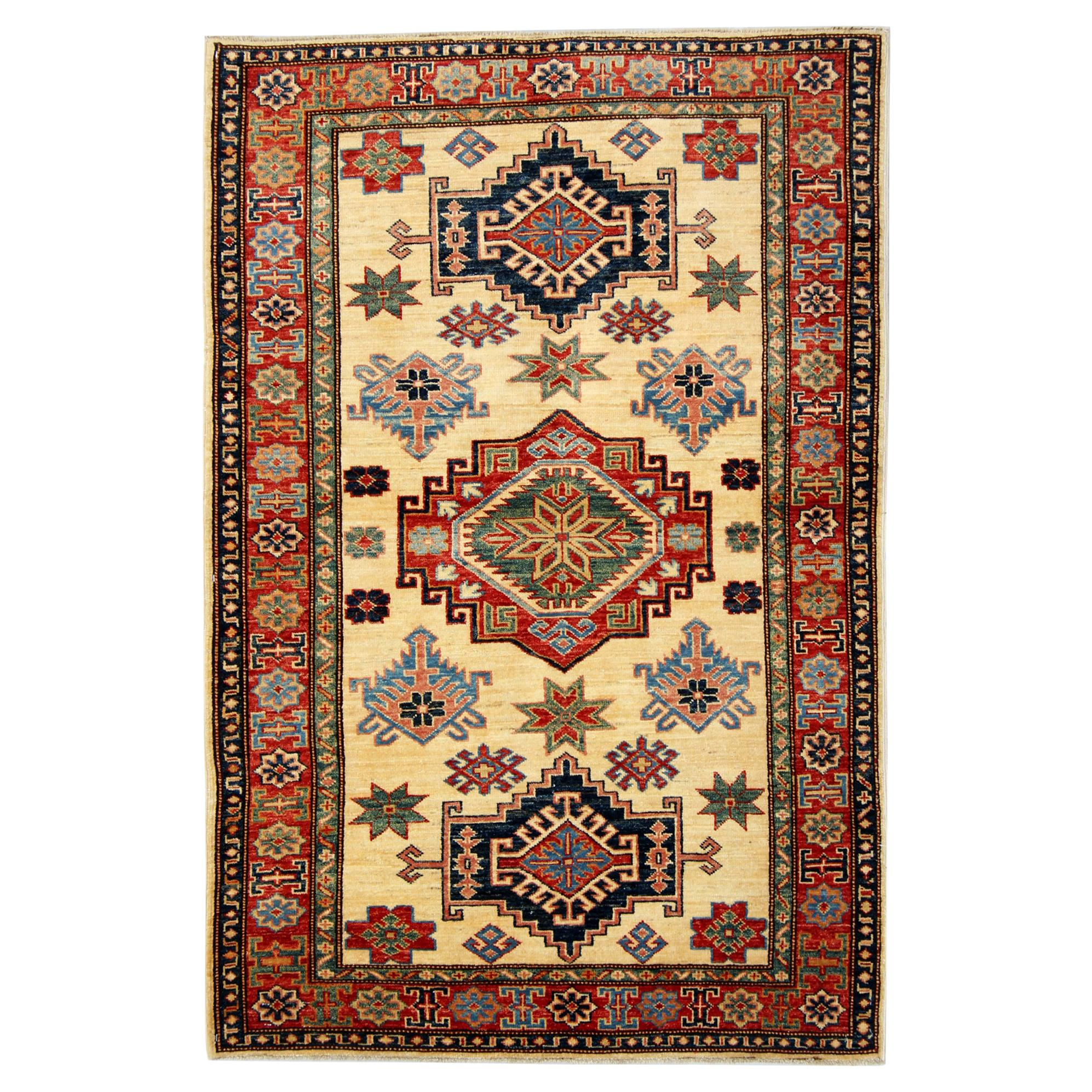 Handmade Kazak Rugs, Geometric Rugs, Carpet from Afghanistan