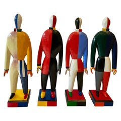 "Kazimir Malevich Avant-Garde Sculptures ""Sportsmen"", Original Group of 4"