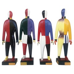 "Kazimir Malevich Avant-Garde ""Sportsmen"" Sculptures, Original Group of 4"