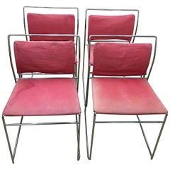 Kazuhide Takahama Italian Set of Four Steel Tulu Chairs for Simon Gavina, 1969