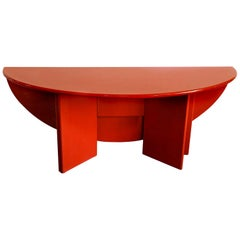 """Kazuhide Takahama Lacquered Red """"Antella"""" Drop-Leaf Dining Table / Console/ Desk"""