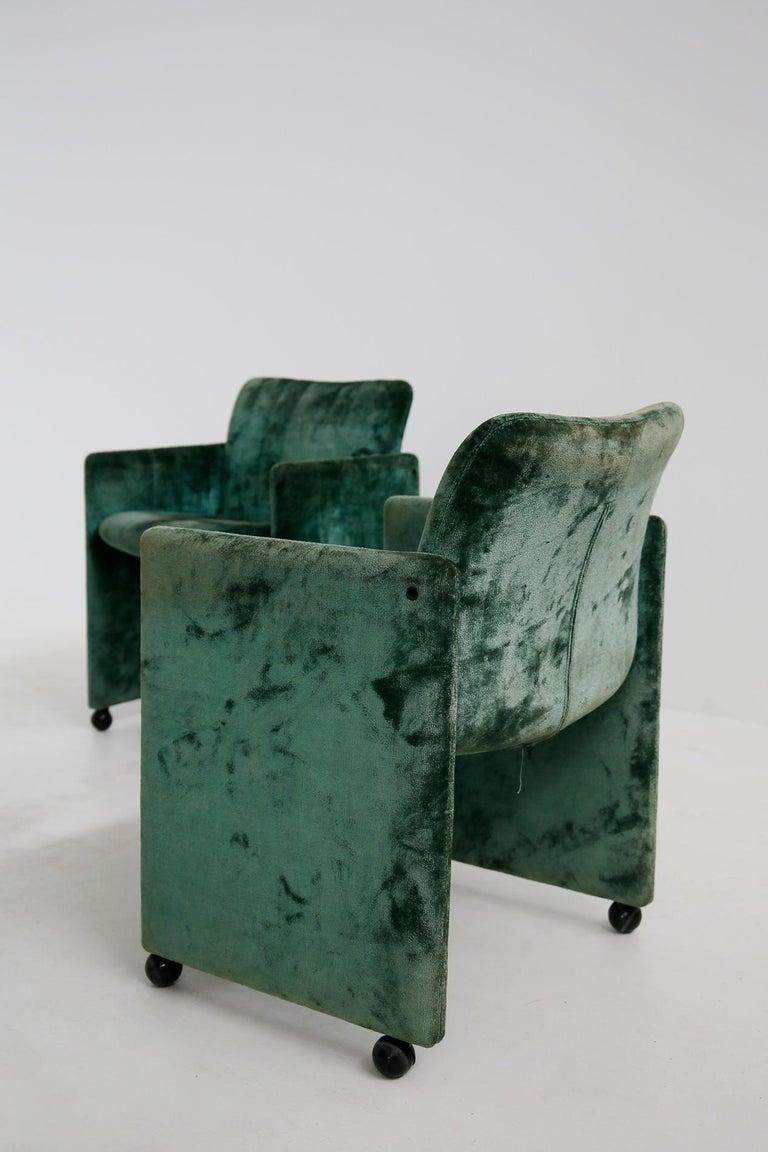 Kazuhide Takahama Set of 10 Chairs Green Mod. Montebello Production Gavina 1980s For Sale 3
