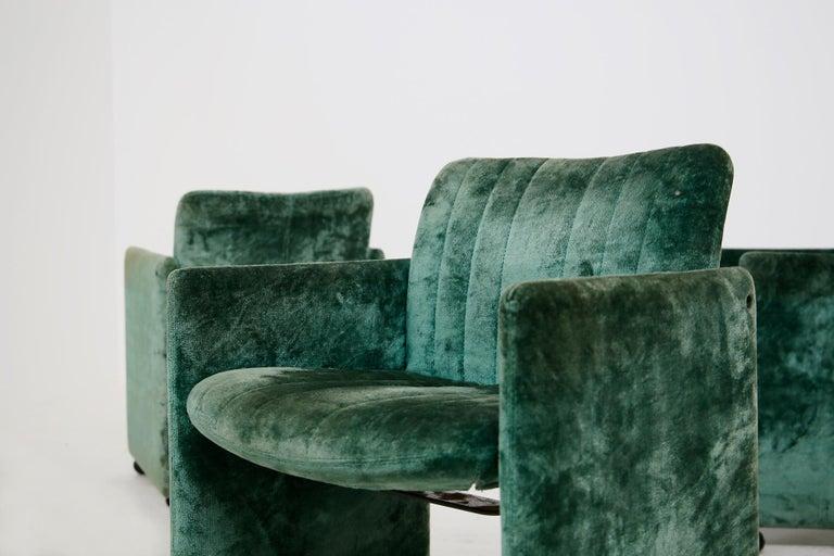 Kazuhide Takahama Set of 10 Chairs Green Mod. Montebello Production Gavina 1980s For Sale 4