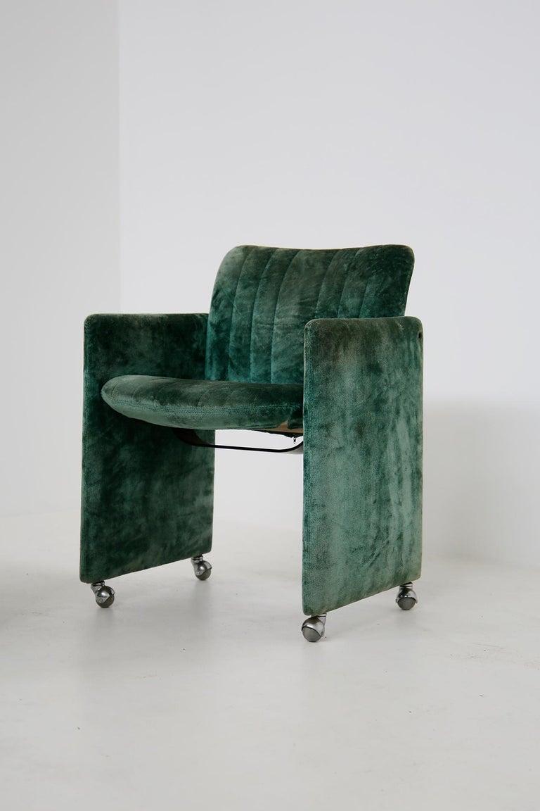 Kazuhide Takahama Set of 10 Chairs Green Mod. Montebello Production Gavina 1980s For Sale 7