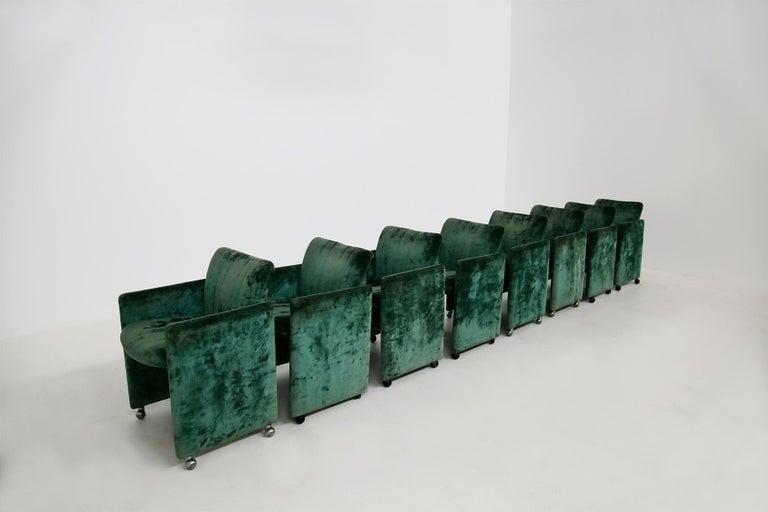 Modern Kazuhide Takahama Set of 10 Chairs Green Mod. Montebello Production Gavina 1980s For Sale