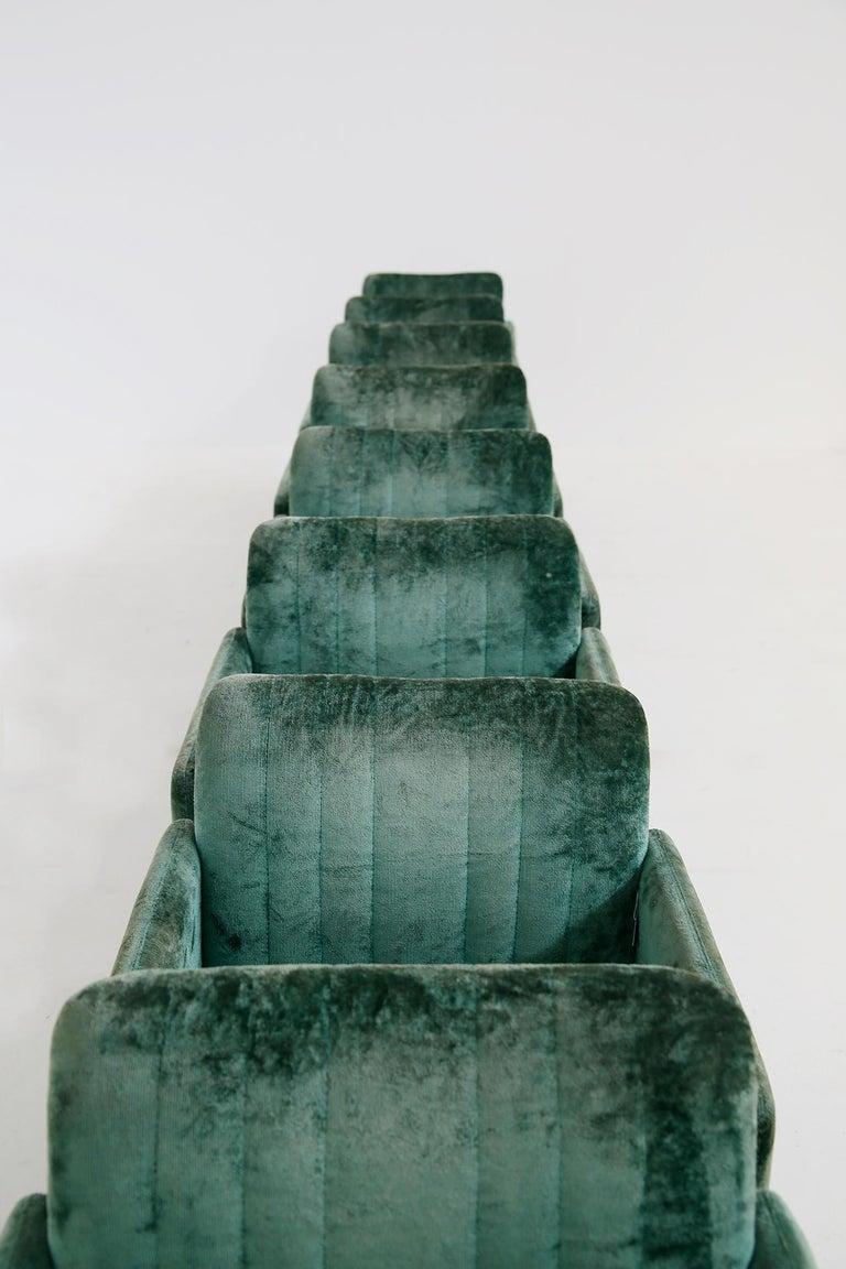 Italian Kazuhide Takahama Set of 10 Chairs Green Mod. Montebello Production Gavina 1980s For Sale