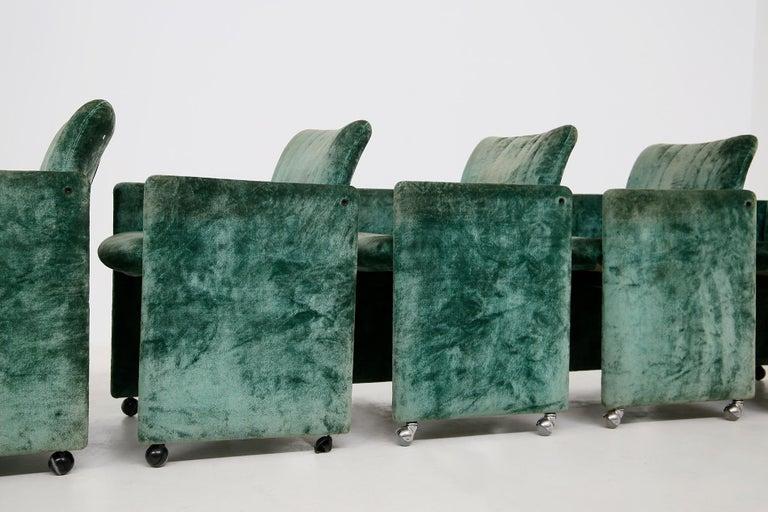 Late 20th Century Kazuhide Takahama Set of 10 Chairs Green Mod. Montebello Production Gavina 1980s For Sale