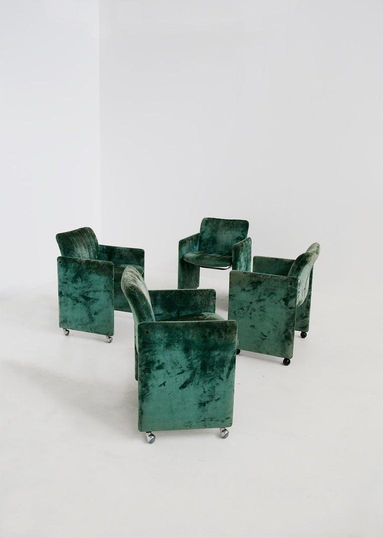 Steel Kazuhide Takahama Set of 10 Chairs Green Mod. Montebello Production Gavina 1980s For Sale