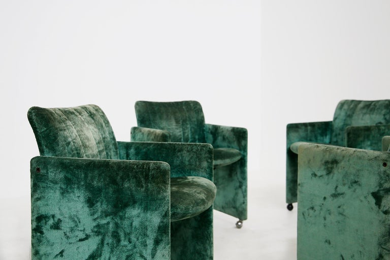 Kazuhide Takahama Set of 10 Chairs Green Mod. Montebello Production Gavina 1980s For Sale 1