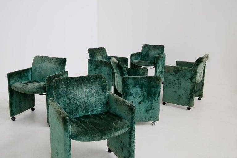 Kazuhide Takahama Set of 10 Chairs Green Mod. Montebello Production Gavina 1980s For Sale 2