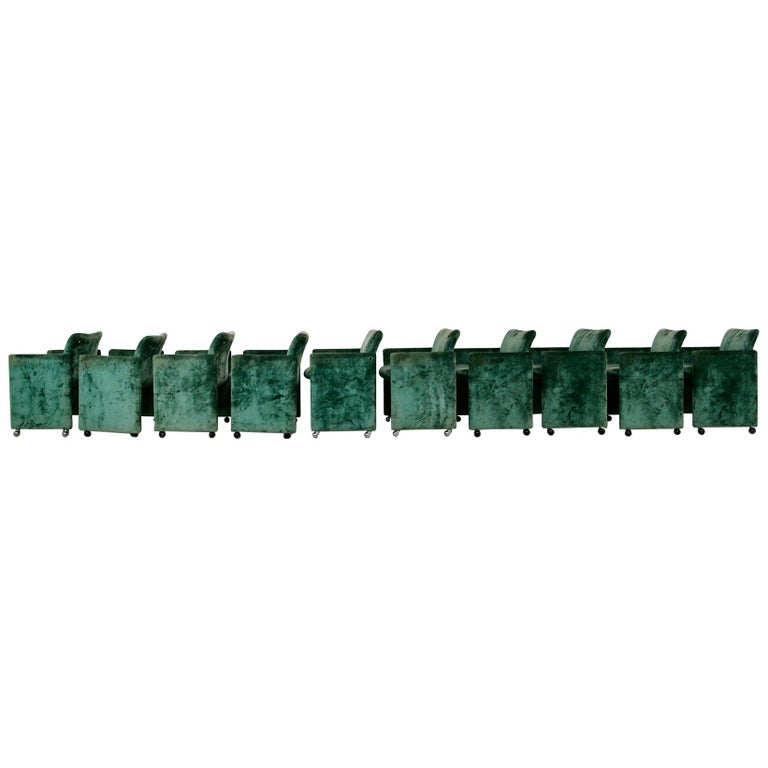 Kazuhide Takahama Set of 10 Chairs Green Mod. Montebello Production Gavina 1980s For Sale