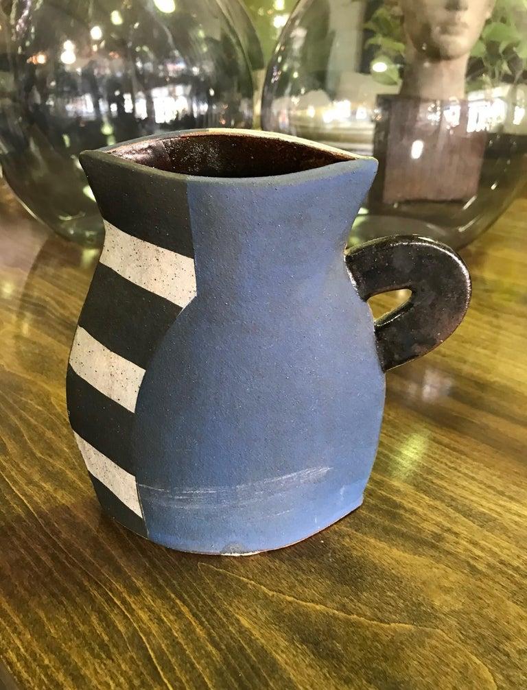 Hand-Crafted Kazuko Matthews Signed Flattened Postmodernist Stoneware Teapot Vase Vessel