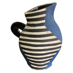 Kazuko Matthews Flattened Postmodernist Stoneware Teapot Vase Vessel