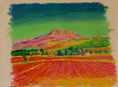 Provence - Early 21st Century Oil Pastel of Landscape France by K.B Hancock
