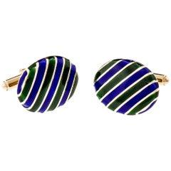 KBJC Blue Green Enamel Gold Cufflinks
