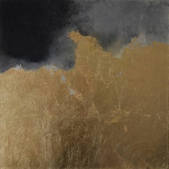 Hic Sunt Dracones l, pastel & gold leaf painting, abstract landscape, coastline